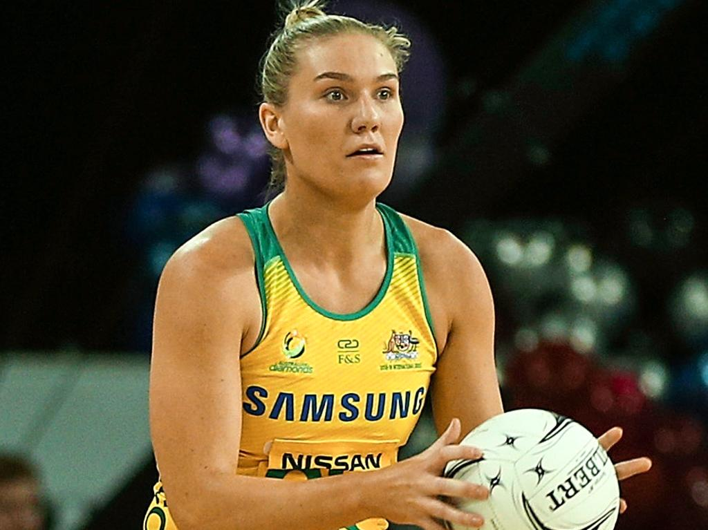 Courtney Bruce of the Diamonds during the Netball Quad Series match between the South African Proteas and the Australian Diamonds at Spark Arena in Auckland, New Zealand, Saturday, September 15, 2018. (AAP Image/David Rowland) NO ARCHIVING, EDITORIAL USE ONLY