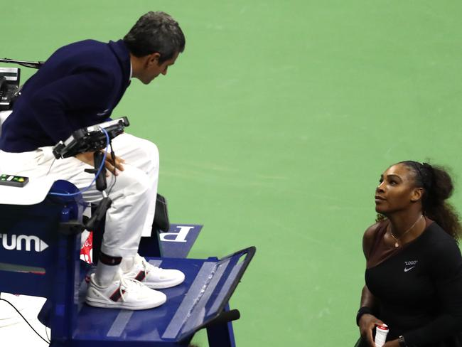 Serena Williams berates chair umpire Carlos Ramos. Picture: Getty