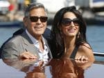 George Clooney, left, and Amal Alamuddin arrive in Venice, Italy on Friday, Sept. 26th 2014. Picture: AP