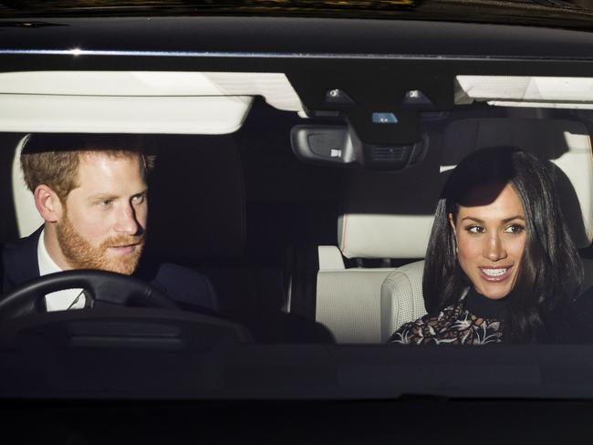 Prince Harry and Meghan Markle attended the Queen's traditional Christmas lunch at Buckingham Palace yesterday. Picture: Splash News
