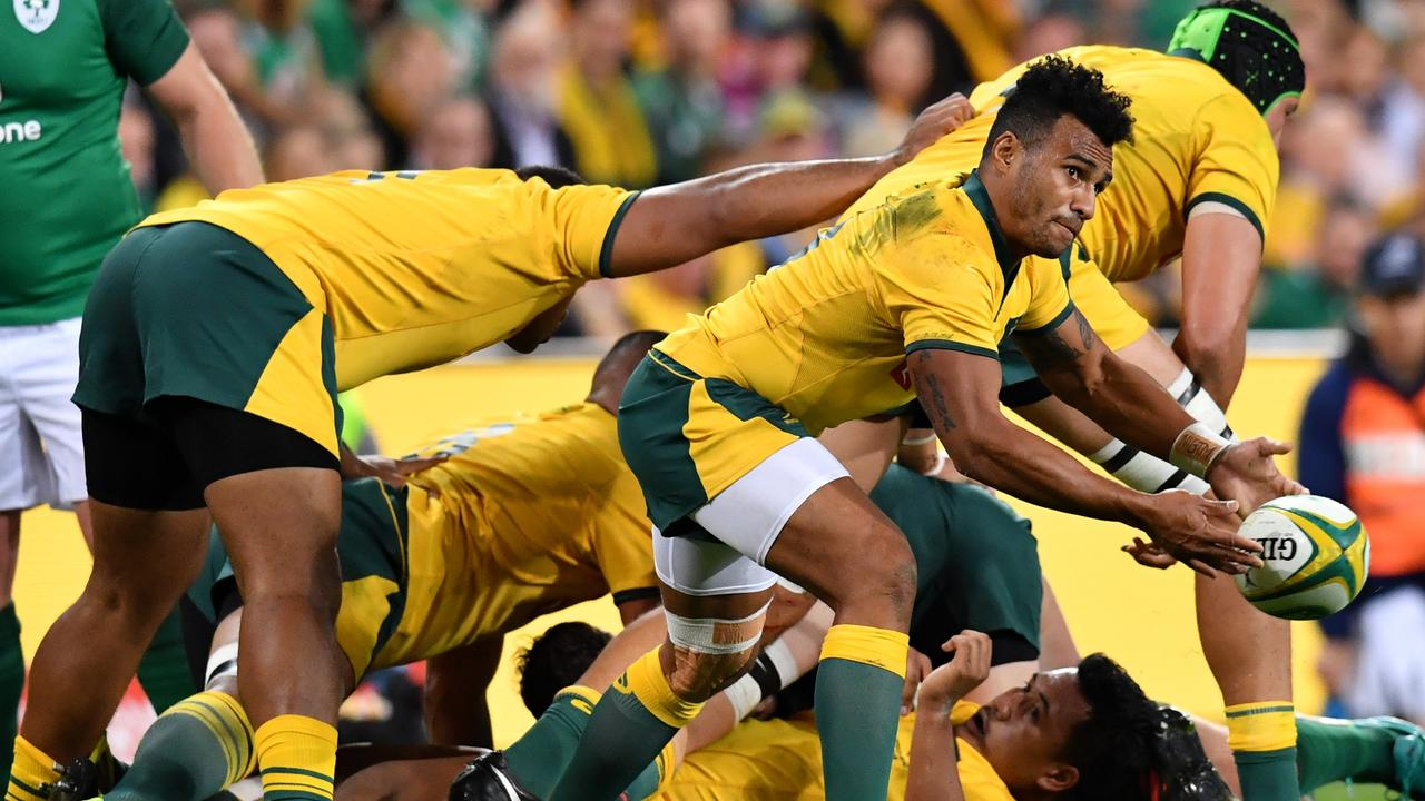 Will Genia passes the ball during the first Test between the Wallabies and Ireland.
