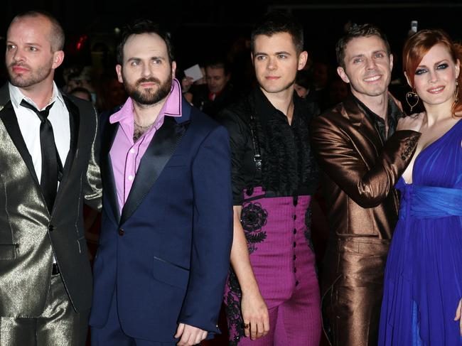 Scissor Sisters' Paddy Boom, Babydaddy, Del Marquis, Jake Shears and Ana Matronic at the Brit Awards 2007. Pic: Supplied