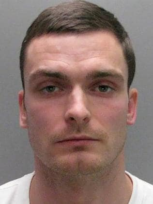 Former Sunderland footballer Adam Johnson posing for his custody photograph at a police station in north east England.