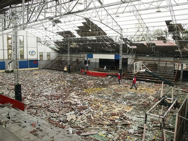 A wrecked sports arena in Beira on Monday, after Tropical Cyclone Idai tore through the region. Picture: Denis Onyodi/IFRC/AP