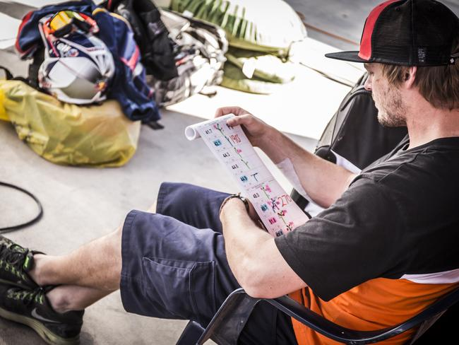 Price studying the next day's road book during the 2015 Dakar Rally.