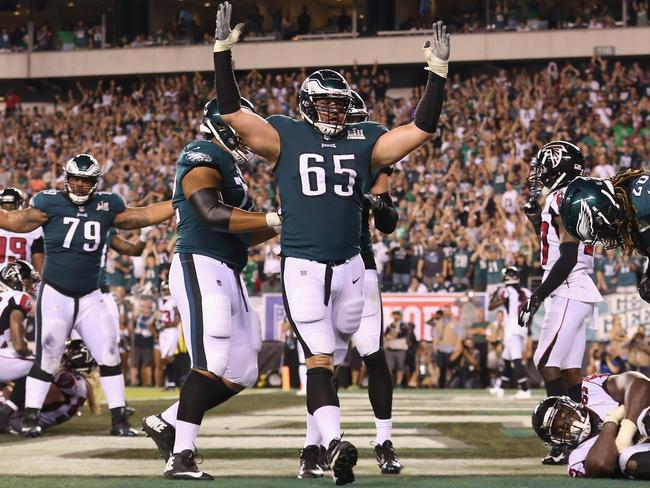Lane Johnson (65) celebrates Jay Ajayi's two-point conversion in the win over Atlanta. Picture: Getty