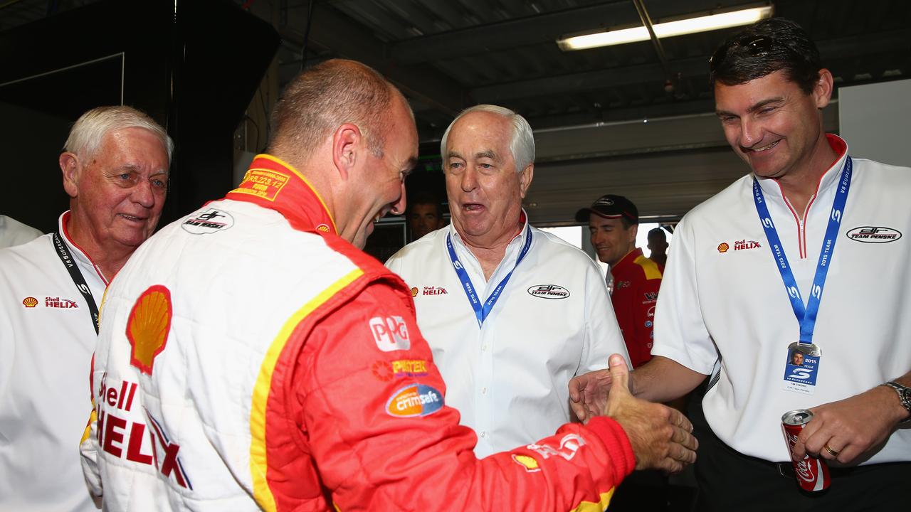 Johnson, Roger Penske and Tim Cindric with Marcos Ambrose in 2015. Picture: Robert Cianflone