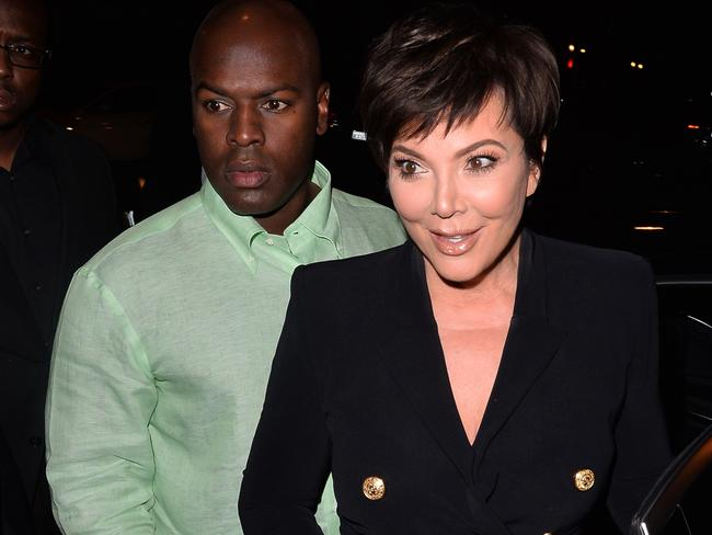 Corey Gamble and Kris Jenner arrive at the restaurant. Picture MEGA.