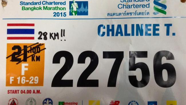Oops ... A runner takes matters into their own hands by correcting the distance on their race bib. Picture: Facebook