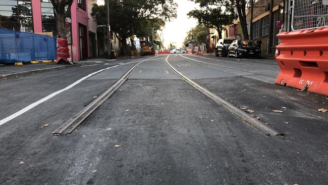 On Devonshire St in Surry Hills one pair of tracks simply finishes abruptly in the middle of the road.