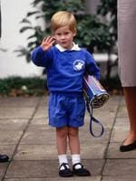 Prince Harry waving to photographers as he arrived for his first day at Mrs. Mynor's nursery school on September 16, 1987 in Notting Hill, London. Picture: Getty