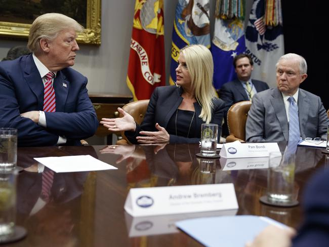 Donald Trump and Attorney-General Jeff Sessions met with Florida Attorney-General Pam Bondi to discuss school safety. Picture: AP/Evan Vucci