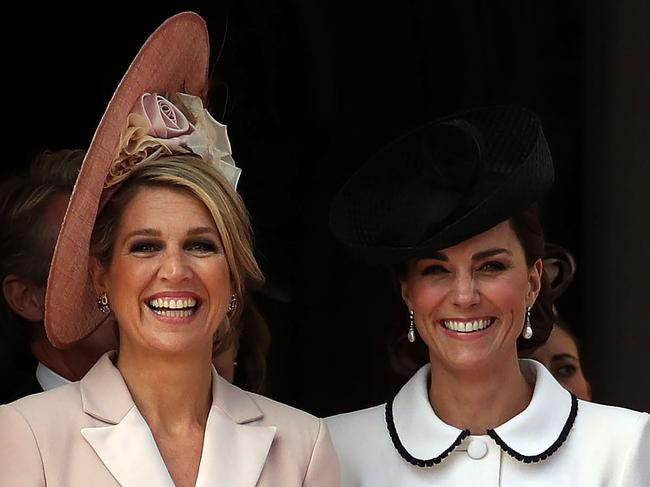 The Duchess of Cambrdige, right with Queen Maxima of the Netherlands at the Order of the Garter Service in Windsor on Monday. Picture: Steve Parsons - WPA Pool/Getty Images
