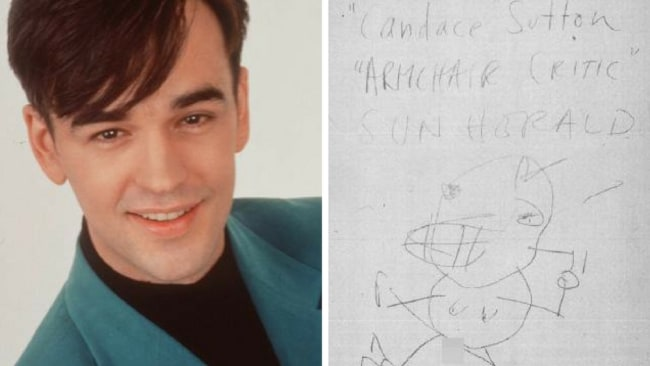 Left: Tim Ferguson called himself 'the gorgeous one'. Right: Ferguson's drawing on the facing page of one of the faxes.