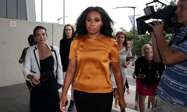 Paulini Curuenavuli arrives at Mount Druitt Local Court for her sentence hearing over bribery charges, Sydney, Friday, December 15, 2017. (AAP Image/Jane Dempster) NO ARCHIVING