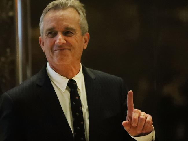 Robert Kennedy Jr. heads up to a meeting at Trump Tower overnight in New York City. Picture: AFP