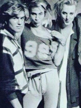George Michael, Marilyn and Boy George while recording Band Aid