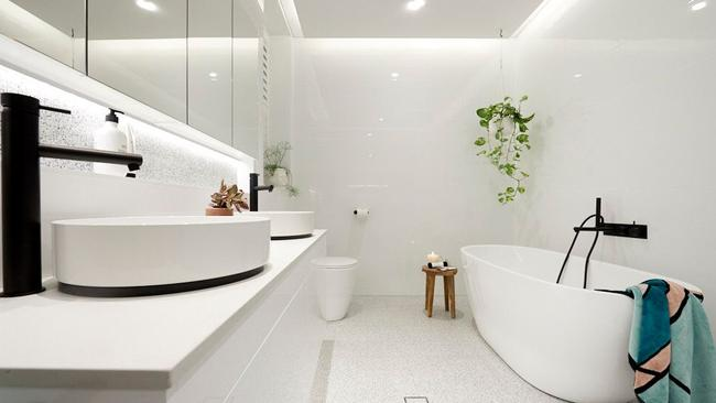 One of the bathrooms in Hans and Courtney's apartment. Source: The Block