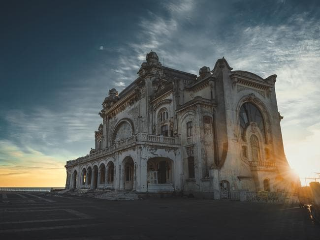 Creepy abandoned Romanian casino after dark. Picture: Jakub Kyncl