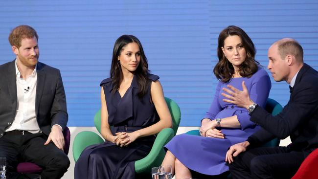 Prince Harry, Meghan Markle, Catherine, Duchess of Cambridge, and Prince William in 2018. Picture: Chris Jackson – WPA Pool/Getty Images
