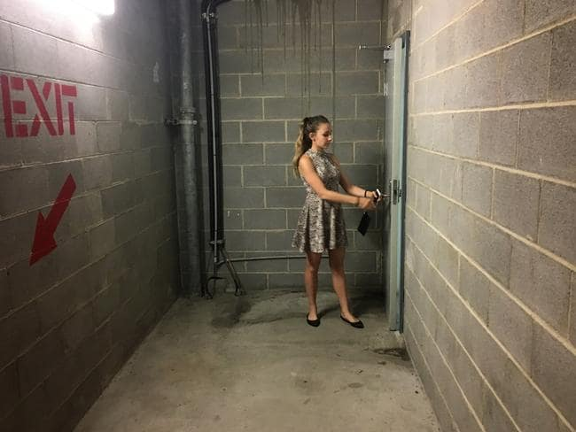 Sunday Telegraph reporter Sarah Keoghan, 20, tested the enormous Bondi Junction shopping mall's stairwell exits and found them confusing and exhausting. Picture: News Corp.