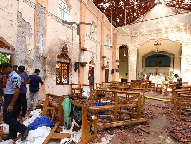 The St Sebastian's Church blast was so powerful it blew the roof off. Picture: Getty Images
