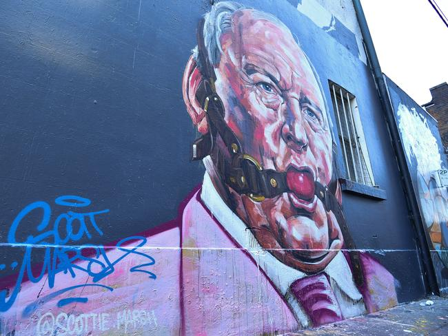 A mural depicting Australian radio host Alan Jones is seen in the Sydney suburb of Chippendale. Picture: AAP
