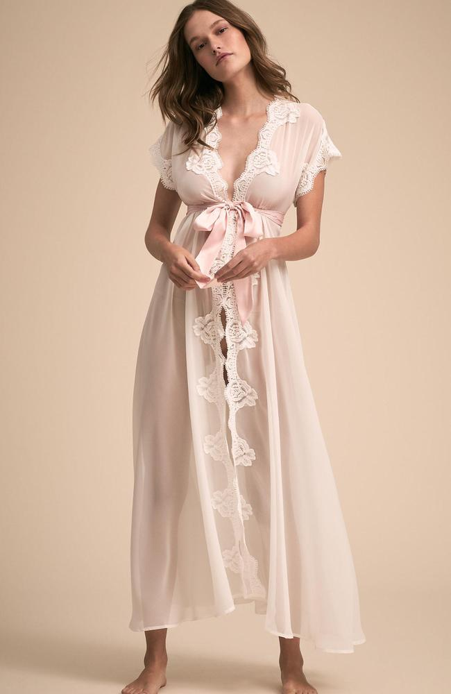 Homebodii's iconic Farrrah robe ($129) is made from a combination of soft chiffon and lace and finished with a matt satin sash.