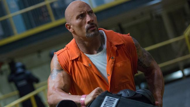 Dwayne Johnson in a scene from the 8th Fast & Furious film The Fate of the Furious.
