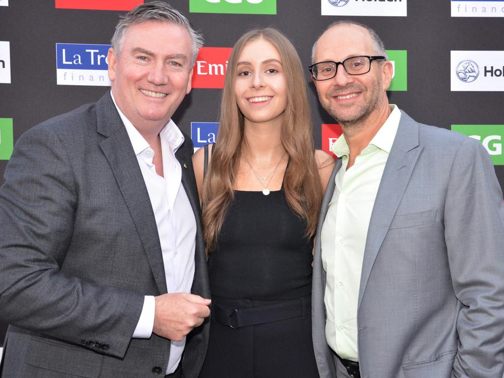 Eddie McGuire, Milly Waislitz and Alex Waislitz attend the Collingwood Football and Netball Club 2019 season launch at The Aviary at Crown on Wednesday, March 13, 2019. Picture: Fiona Byrne