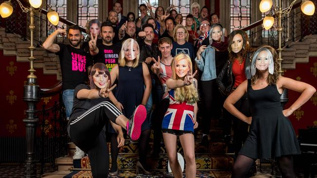 Spice Girls fans on THAT staircase this week. Picture: Ian Gavan/Getty Images for St Pancras Renaissance Hotel)