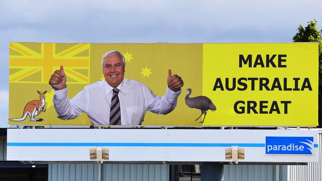 A Clive Palmer billboard similar to one that was erected atop the Flagstaff Hotel.