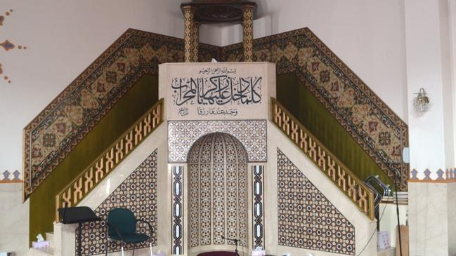 The richly decorated Mihrab and Minbar at Lakemba Mosque. Picture: Benedict Brook