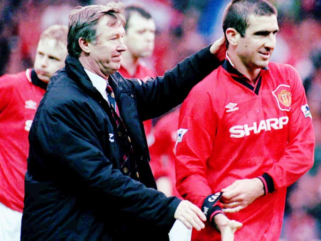 Manchester United Manager Alex Ferguson thanks Captain Eric Cantona as United crushed Nottingham Forest 5-0 Apr 28, 1996 english soccer sport o/seas britain headshot