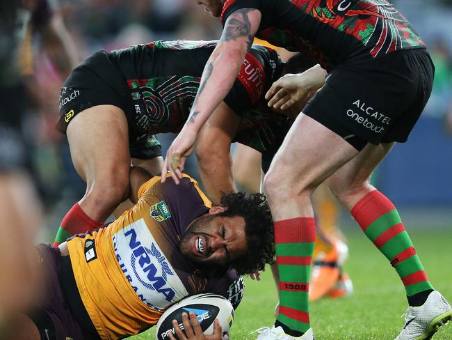South Sydney's Ben Te'o was suspended for this tackle on Sam Thaiday.