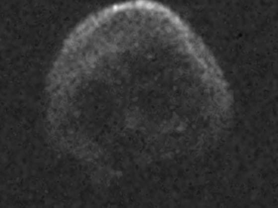 Images of the skull-shaped asteroid travelling through space were captured using the Goldstone telescope in Puerto Rico. Picture: NAIC-ARECIBO/NSF