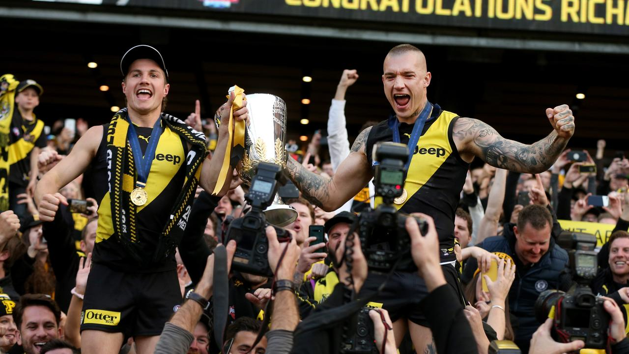 Liam Baker and Dustin Martin could be celebrating another Richmond premiership soon, according to Fox Footy experts. Picture: Michael Klein.