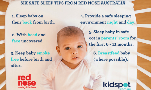Six safe sleep tips via Red Nose Australia