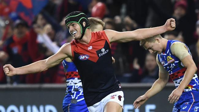 Angus Brayshaw celebrates kicking a goal. Photo: Quinn Rooney/Getty Images