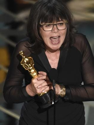 """Margaret Sixel accepts the award for best film editing for """"Mad Max: Fury Road""""."""