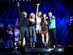 """Taylor Swift performs with the band Little Big Town during The 1989 World Tour live at Heinz Field on June 6, 2015 in Pittsburgh, Pennsylvania ... """"Tonight my friends @littlebigtown surprised the #1989TourPittsburgh crowd with 'Pontoon' and it was SO MUCH FUN!!"""" Picture: Getty"""