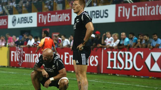 DJ Forbes of New Zealand looks on in despair after losing to the USA.
