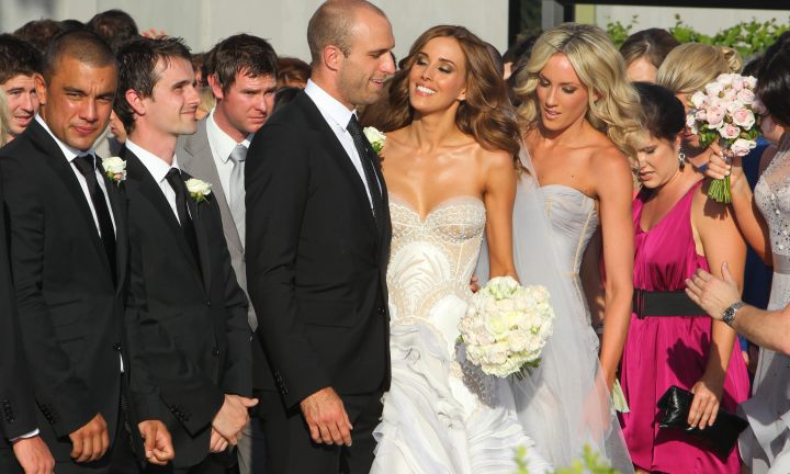 Rebecca Twigley and Chris Judd marry at Carousel in Albert Park. Chris and Rebecca [centre] pose for photo's after the service.