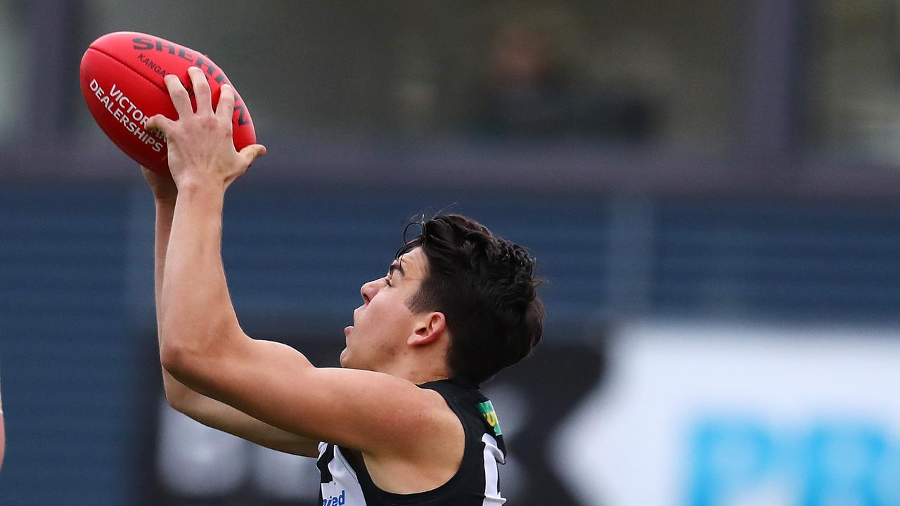 Collingwood VFL's Marty Hore marks the ball. Photo: Michael Klein