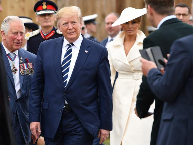 Prince Charles, US President Trump and First Lady Melania commemorate the 75th anniversary of the D-Day landings, in Portsmouth, England, on June 5, 2019. Pics: AFP