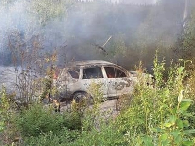 The abandoned Toyota RAV4 was found still alight in dense bush near a rail line at a First Nation settlement near Gillam, northern Manitoba on July 23. Picture: Supplied