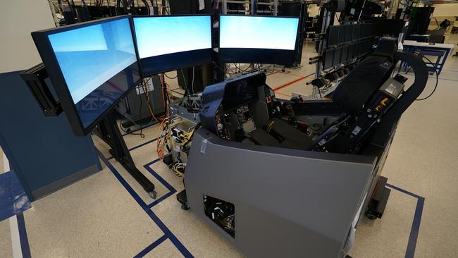 An F-35 production simulator on the factory floor in Orlando, Florida. Picture: Lockheed Martin.