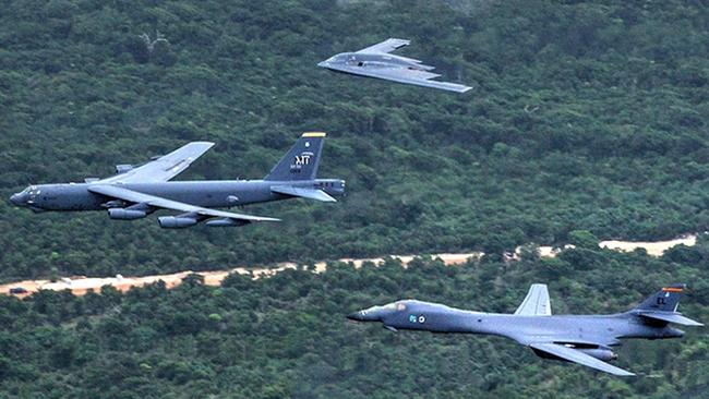 "The current US bomber fleet. The B-2 ""Spirit"", top, with the B-52 ""Stratofortress"" and B-1 ""Lancer"". Picture: USAF"