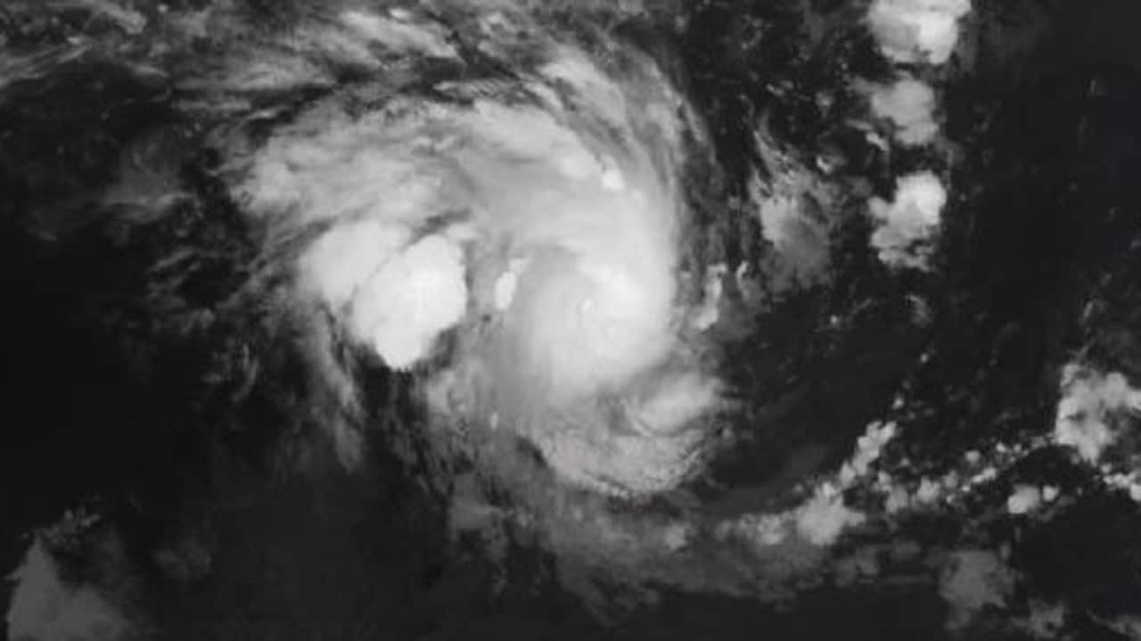 A satellite image showing Tropical Cyclone Marcus over Darwin in March 2018.