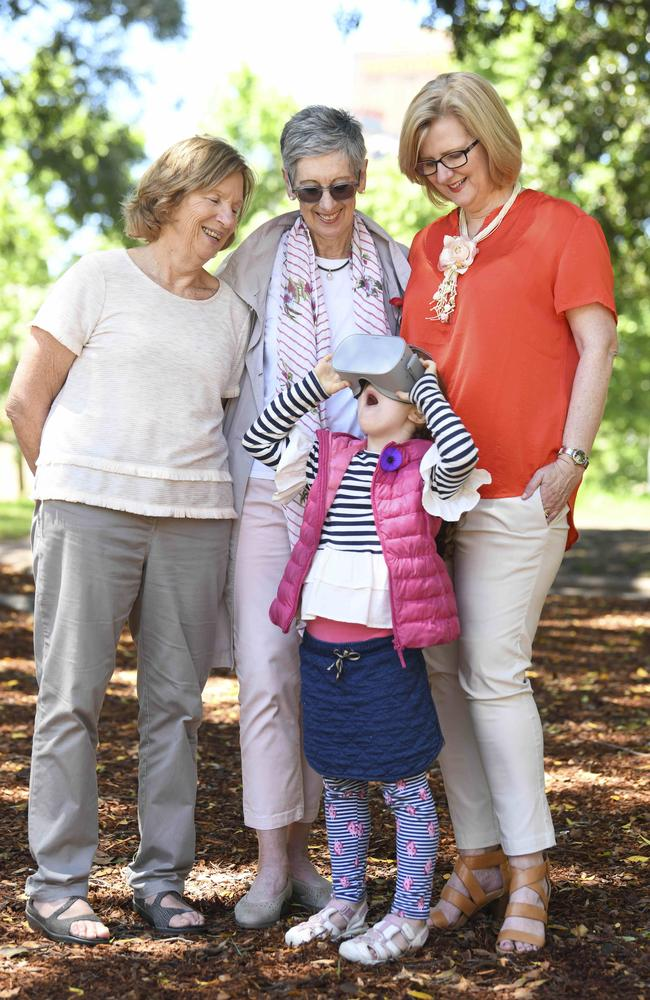 AnzacLive families come together 100 years on to test ANZAC 360. Alice Ross-King's granddaughters Maggie Johnson and Beth Simpson, with Archie's granddaughter Elizabeth Barwick, and Maggie's granddaughter Emily Schranz. Picture: Darren Leigh Roberts